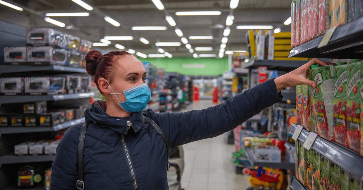 retail shopper wearing mask