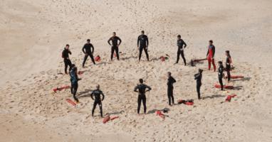 lifeguards training on beach