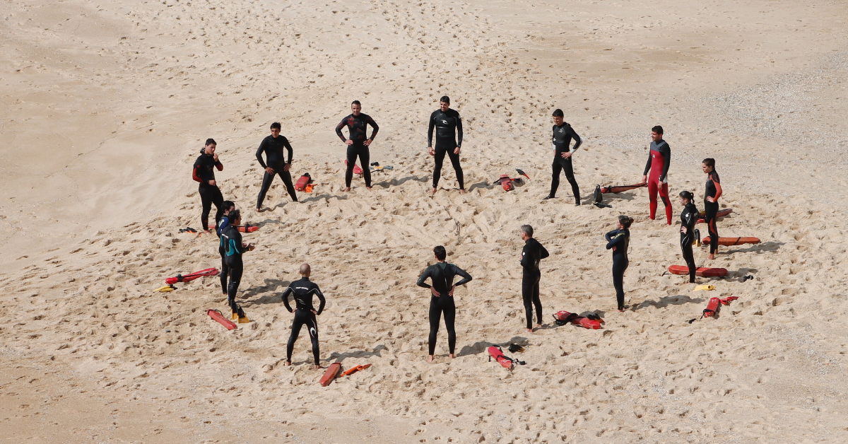 lifeguards training on beach