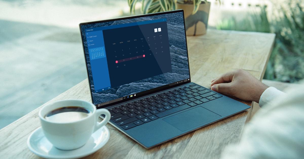 remote working laptop calendar