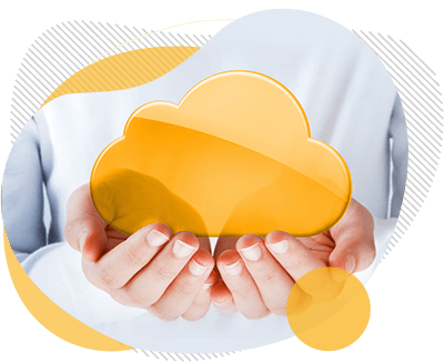 hands holing a yellow cloud